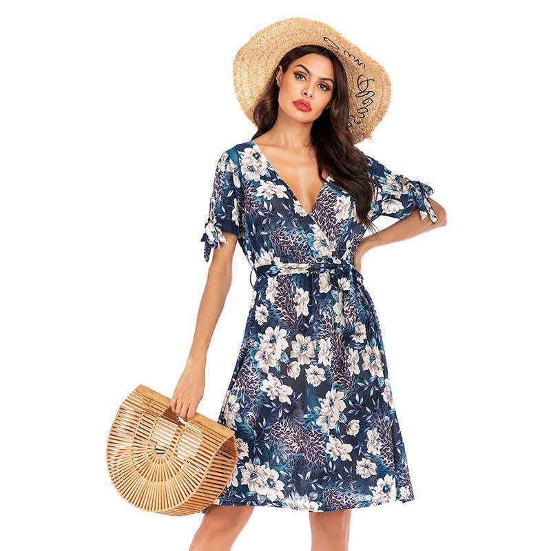 Günlük Elbiseler Stil Küçük Koku Elbise Yaz Şifon Çiçek Büyük Salıncak kadın Orta Uzunlukta Etek