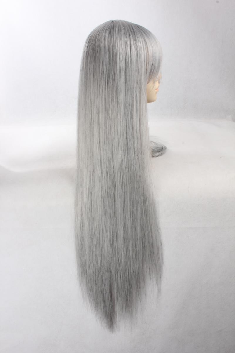 Jushiro ukitake cosplay peluca 80 cm de plata gris mezclada larga larga recta pelo sintético para mujeres hombres + peluca tapa