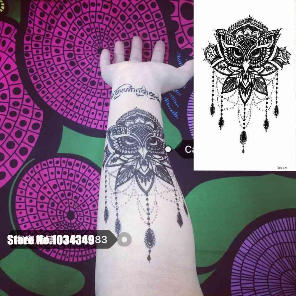1 morceaux de chèvre de chouette noire tatouage temporaire bras temporaire arc art loup maquillage tatouage autocollant étanche