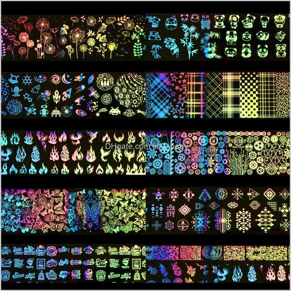 Çıkartmalar Çıkartmaları 10 adettakım 420 cm Lazer Yıldızlı Gökyüzü Tırnak Folyo Transferi Sticker Gül Panda Kelebek Geometrik Holografik Dekorasyon Tam XFMJK