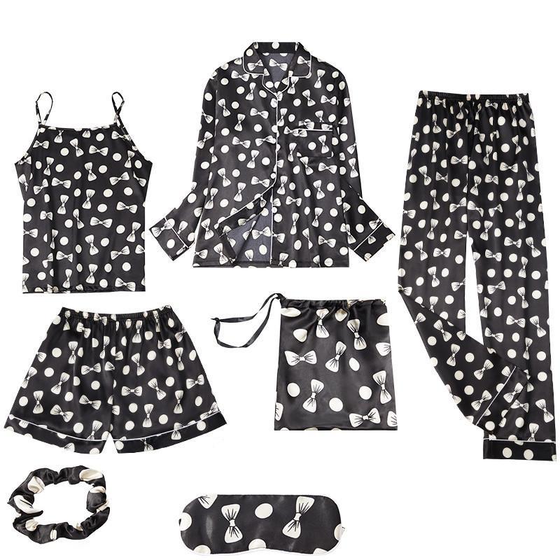 Juli-Song 2020 Neue Kunst-Seide-Frauen-Frauen-Pyjamas-Set 7-Streifen-Streifen DOB-Bugdruck Sleepwear Anzug Frühling Sommer Herbst Homewear Y0112