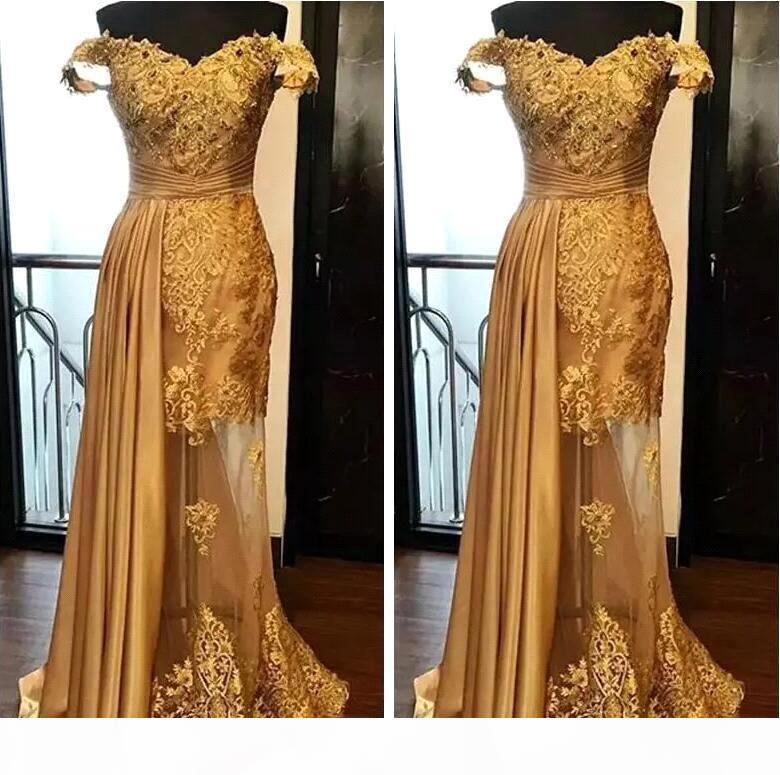 Elegant Gold Mermaid Evening Dresses Latest 2021 Lace Beaded Prom Dress Ruched Floor Length Illusion Skirt Formal Party Gowns Plus Size