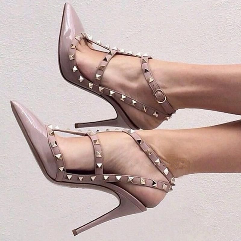 Luxury Dress Shoes v Home Rivet Pointed High Heels Summer 2021 Baotou Bandage Lacquer Leather Liuding Sandal's Thin Heel Sho