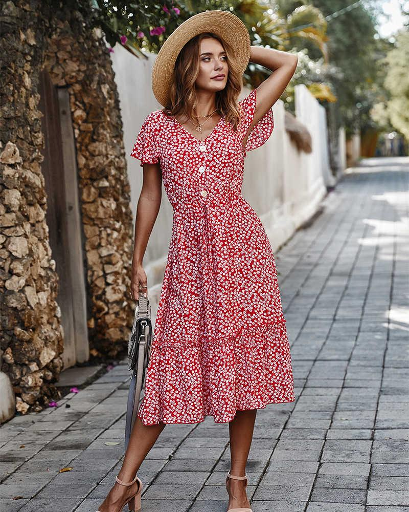 Robes Summer Boho Style Style Fleurs Print V-Col Vacances Vacances Plage Femmes Vestidios de Fiesta