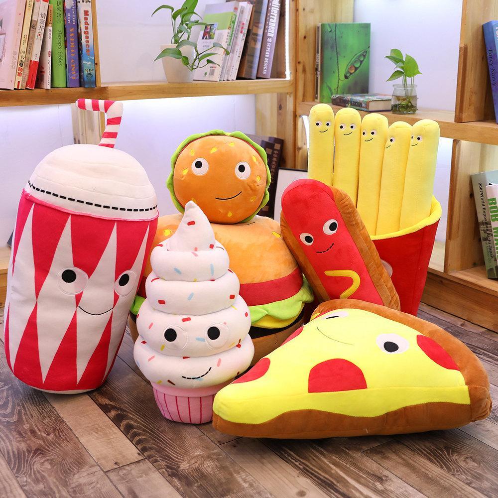 Lustige Lebensmittel Plüsch simulierte gefüllte Snackkissen Kissen Requisiten Wurst Pizza Hamburger Tee Popcorn Keks Hot Dog Eiscreme