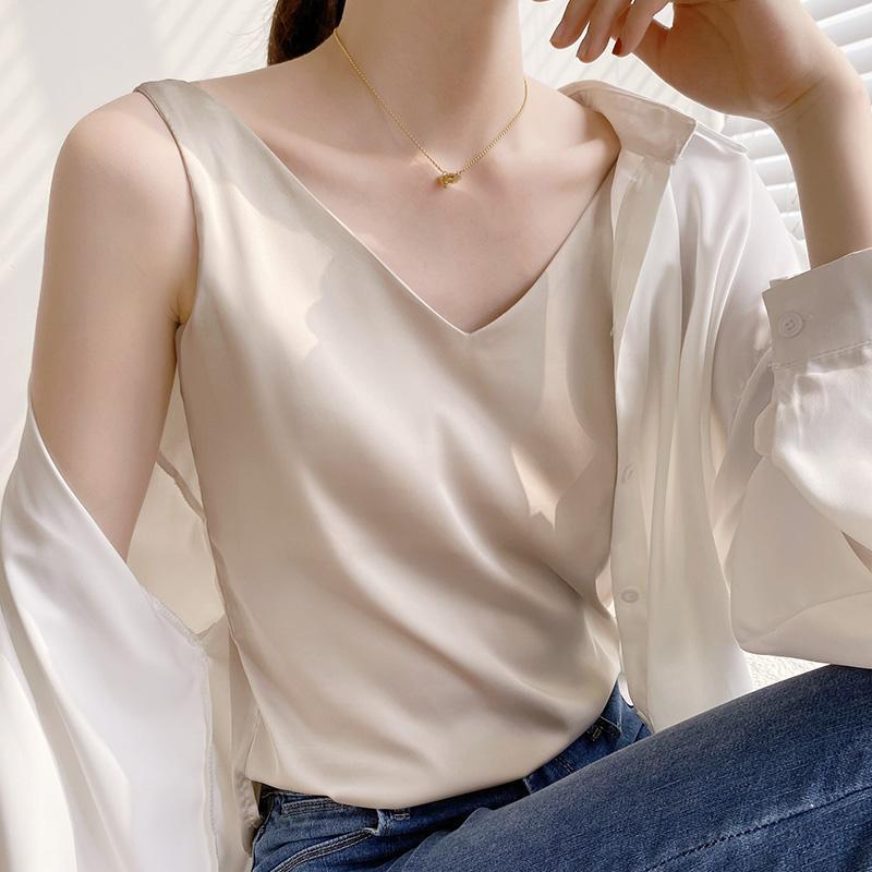الصيف لامعة الحرير الحرير تي شيرت المرأة المتناثرة تي شيرت أكمام الأزياء تيز امرأة المحملة قمم عارضة الإناث الفاخرة مثير قمصان