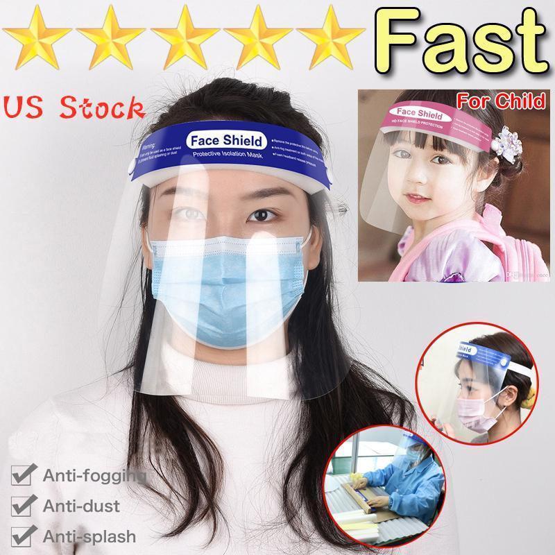 US Stock Protective Face Shield Klare Maske Anti-Nebel Voll Facemasks Transparent Visier Schutz Sicherheit Haustier für Erwachsene Kinder Kind Kinder Masken