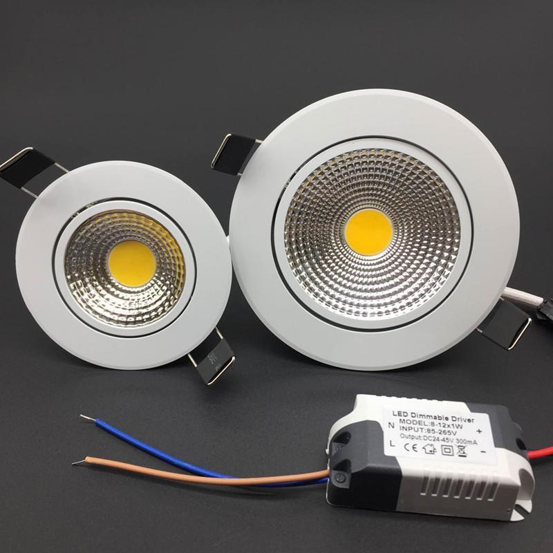 Downlights Ajustável Lâmpada De Led Com Brilho Para Teto, Refletor Embutido Alumínio Embutido, COB Redondo, Iluminação Interna