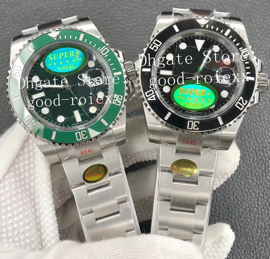 Su geçirmez erkek V12 Sürüm Saatler Mens Otomatik Cal.3135 İzle 904L Çelik Siyah Yeşil Seramik Çerçeve 116610 Erkekler N Noobf Fabrika ETA Kristal Aydınlık Saatı