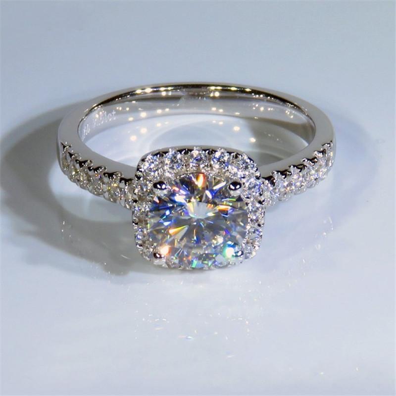 Diamant Vier 925 Claws Ring 1ct Sterling Lab Silber Engagement Hochzeit Band Ringe Für Frauen Partei Schmuck