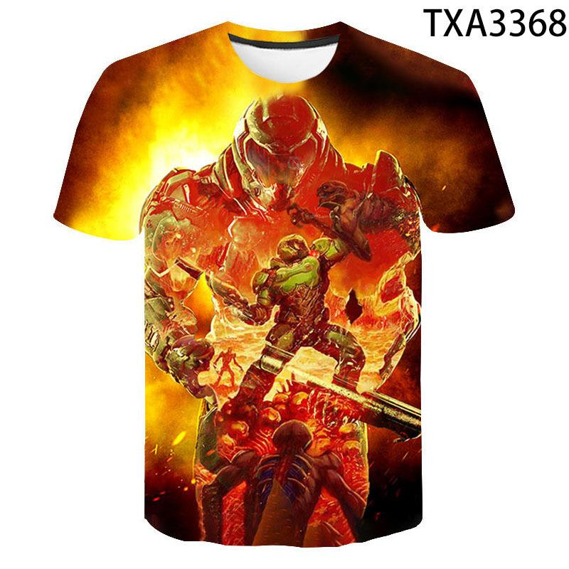 Игра Doom Eternal 3D Полный Футболка для печати Мужчины / Объединенные Повседневная Детская одежда Материал Мягкий и Com Tee Boy Девочка Скидка TSHIRT