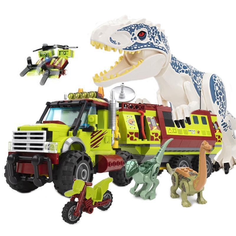 539pcs Technic Dinosaur Mobile Laboratory Truck Blocks Blocchi Giurassic Park Mattoni del Mondo Set bambini FAI DA TE Giocattoli per bambini Regali X0127