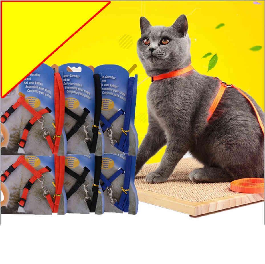 Arnés de cuello de gato de nylon y correa Ajustable PET PET tracción gatito halter gatos productos para pequeños