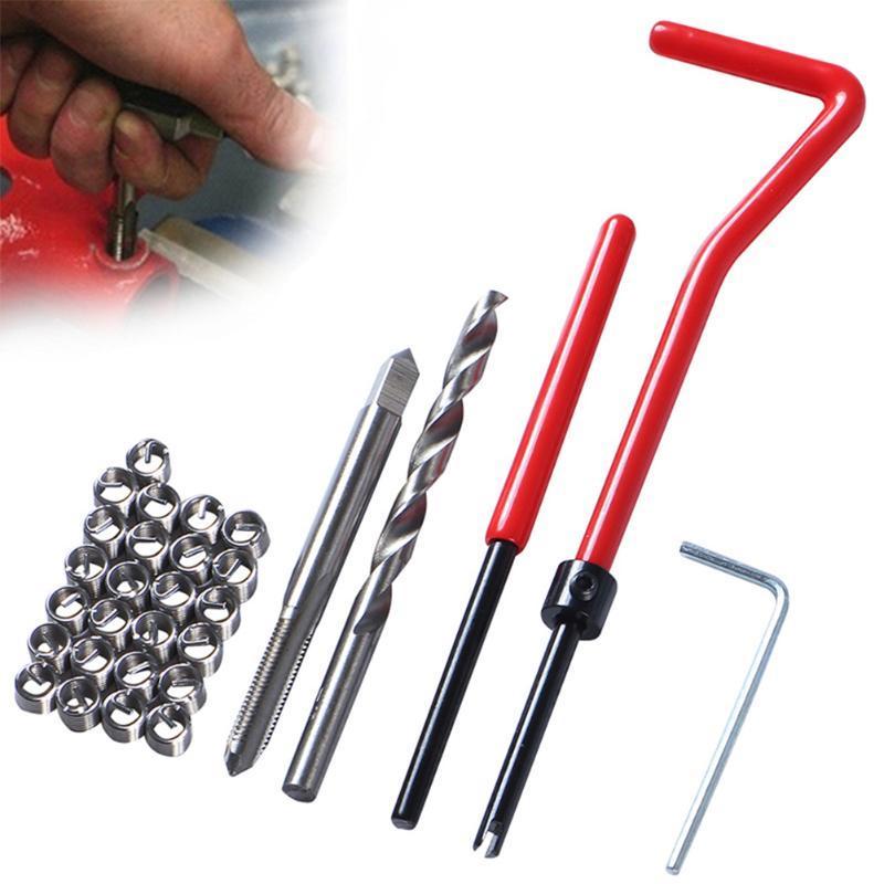 Professionelle Handwerkzeugsätze 30 stücke Automobilanwendungen Drahteinsatz Thread Rot Schraubenschlüssel Reparatur Kit Cutter Werkzeuge Tap Drill Bohrer