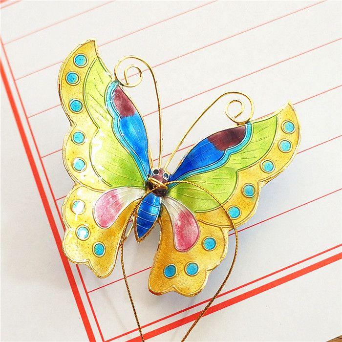 Handmade Cloisonne smalto colorato farfalla pendente portachiavi portachiavi portachiavi charms ornamenti insetto albero di Natale hanging decor regalo