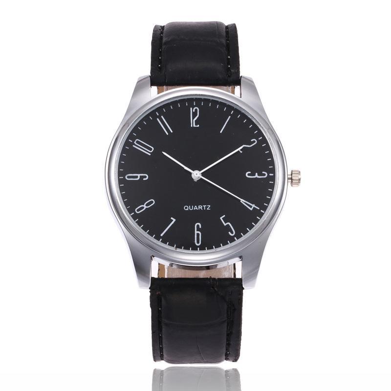 Einfache mode silber ziffer zicker leder uhren für herren männer studenten freizeit quarz armbanduhr uhr