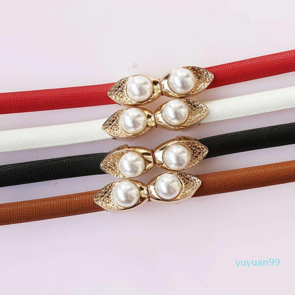 Abito da perle versatile fibbia cintura in pelle decorativa da donna decorativa in vita coreana