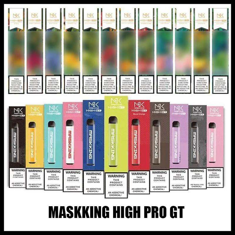Maskking High Pro GT Device jetable Version 1000 Puffs 600mAh 3.5mla Cartouches pré-remplies E Cigarette PK Bar à air Lux GT Bang XXL bouffée