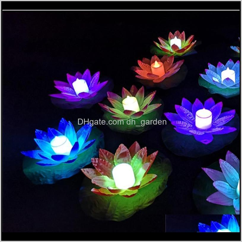 Decorative Flowers Wreaths Led Lamp Colorful Changed Floating Water Pool Wishing Light Lantern Flameless Candle Lotus Flower Lamps For F5Q0T