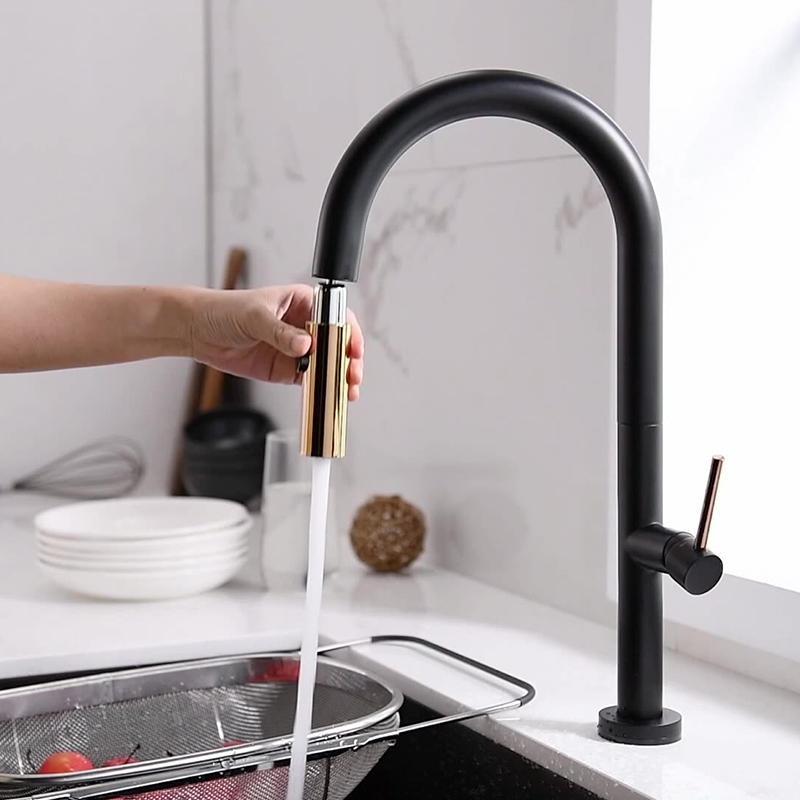 Tutto il rame multifunzione della cucina universale rubinetto di cucina estrarre il miscelatore dell'acqua del rubinetto singolo Maniglia singola 360 rubinetti doccia rotazione