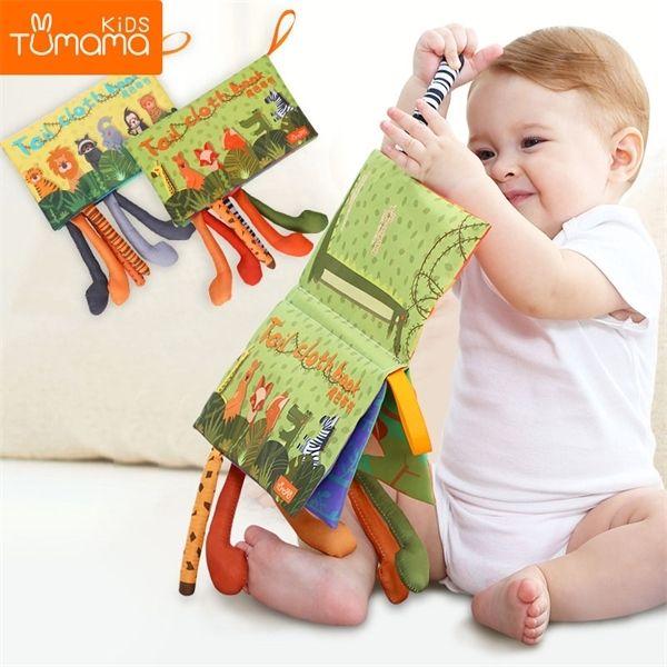 Tumama Baby Rattles Мобильные Мобильные игрушки Мягкие Хвосты Животных Ткань Книжка Новорожденной Кольцоры Подвесные Игрушки Детские Ранние Обучение Образовательные Игрушки L0323