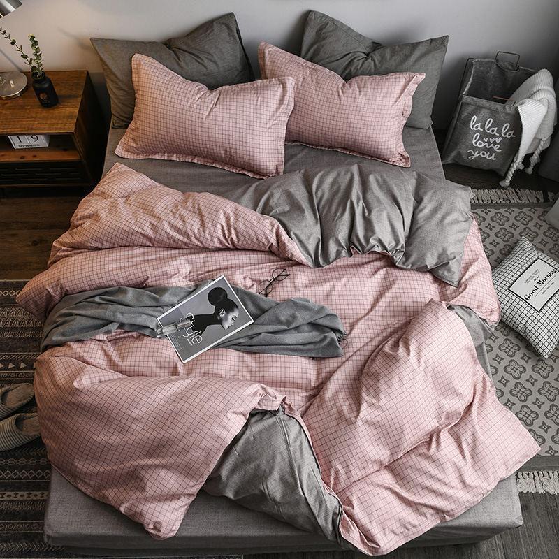 Bettwäsche Sets Massivfarbe Geometrisch 4 stücke Bettabdeckung Set Duvet Erwachsene Blatt Kissenbezug Casses Home Textil King Größe