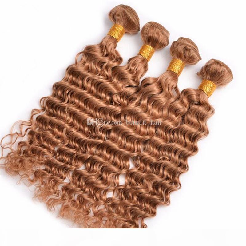 Brezilyalı Bal Sarışın Saç # 27 Derin Dalga 4 adetgrup Kıvırcık Saç Atkı # 27 Çilek Sarışın İnsan Saç Dokuma Uzantıları 10-30 ''
