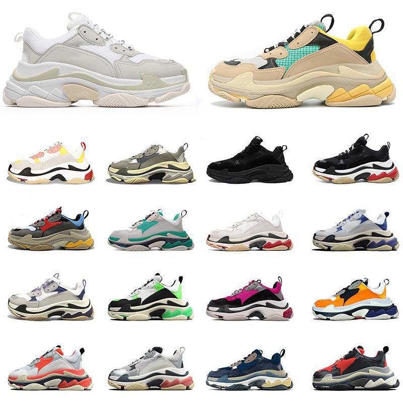 Luxurys Designers Balencaiga Homens Triple S plataforma Sapatos Mulheres Casual Paizinho Top Quality Sneakers Black Jogging Tênis Andando Homens Treinadores Tamanho 36-45