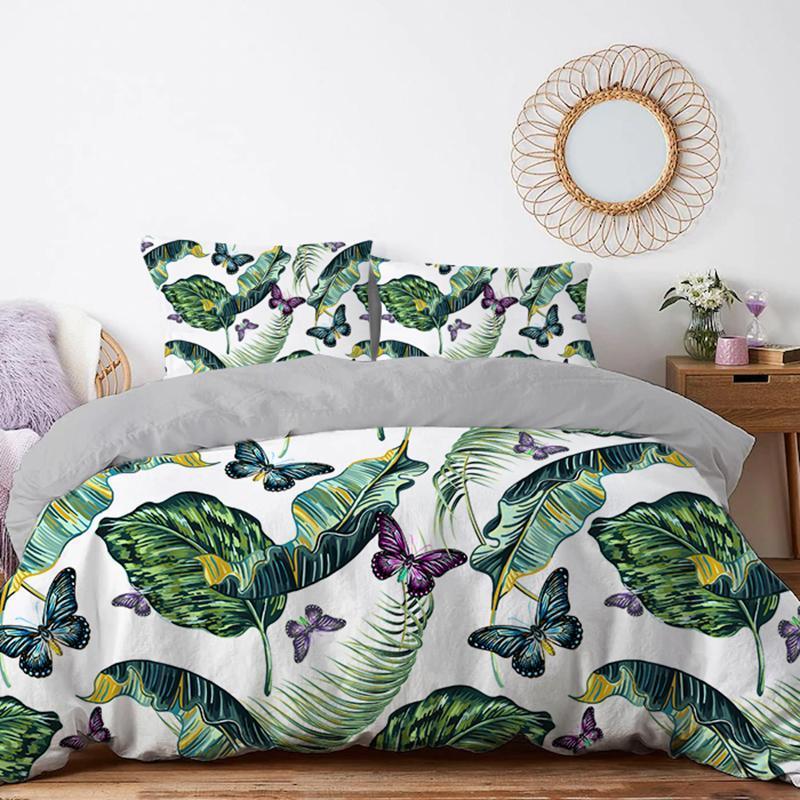 Bettwäsche-Sets Tropical Blätter Cover Duvet Set Dekoration 220x240 210x210 Twin Queen King Doppel Pflanzendecke