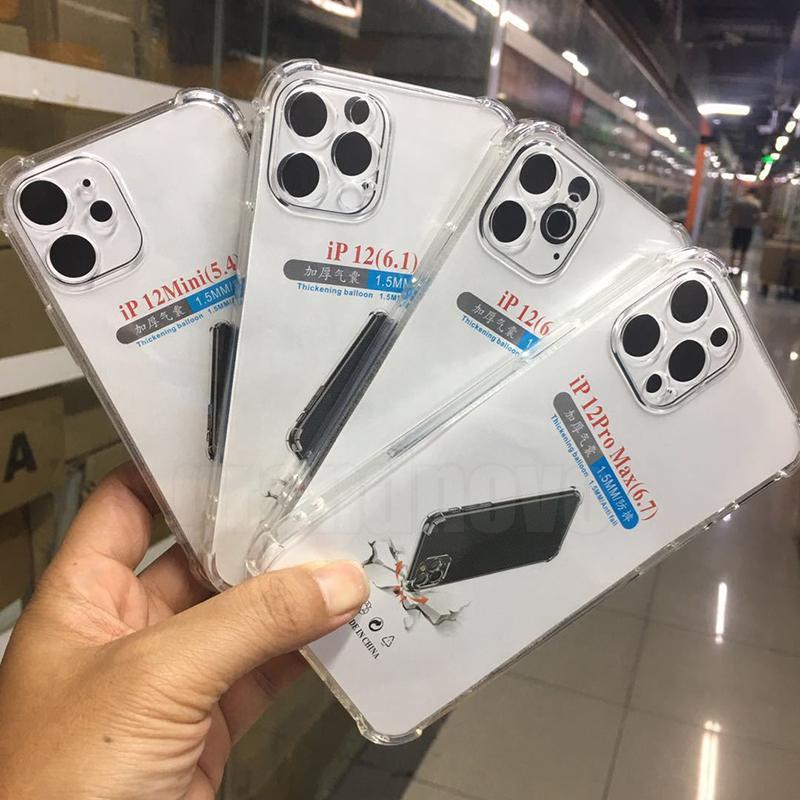 1.5mm almofada de ar limpar caso transparente macio tpu silicone borracha cobertura à prova de choque para iphone 13 pro max 12 mini 11 xr x 8 7 6 6 s mais