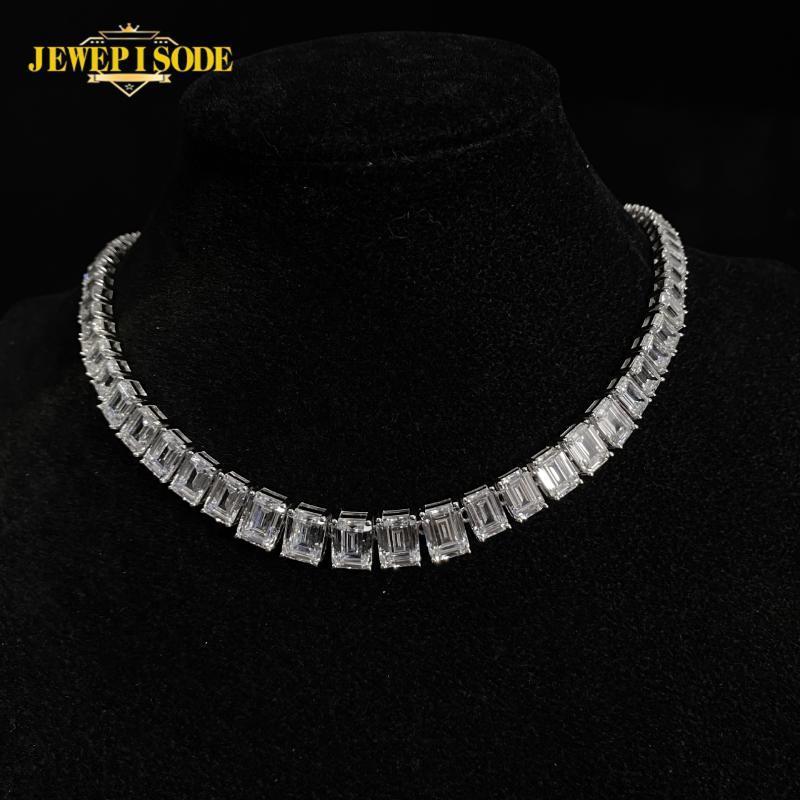Jedepisode 100% 925 Sterling Silber Smaragdschnitt Erstellt MOISSANITE Diamant Hochzeit Engagement Halskette Frauen Männer Feine Schmuckketten
