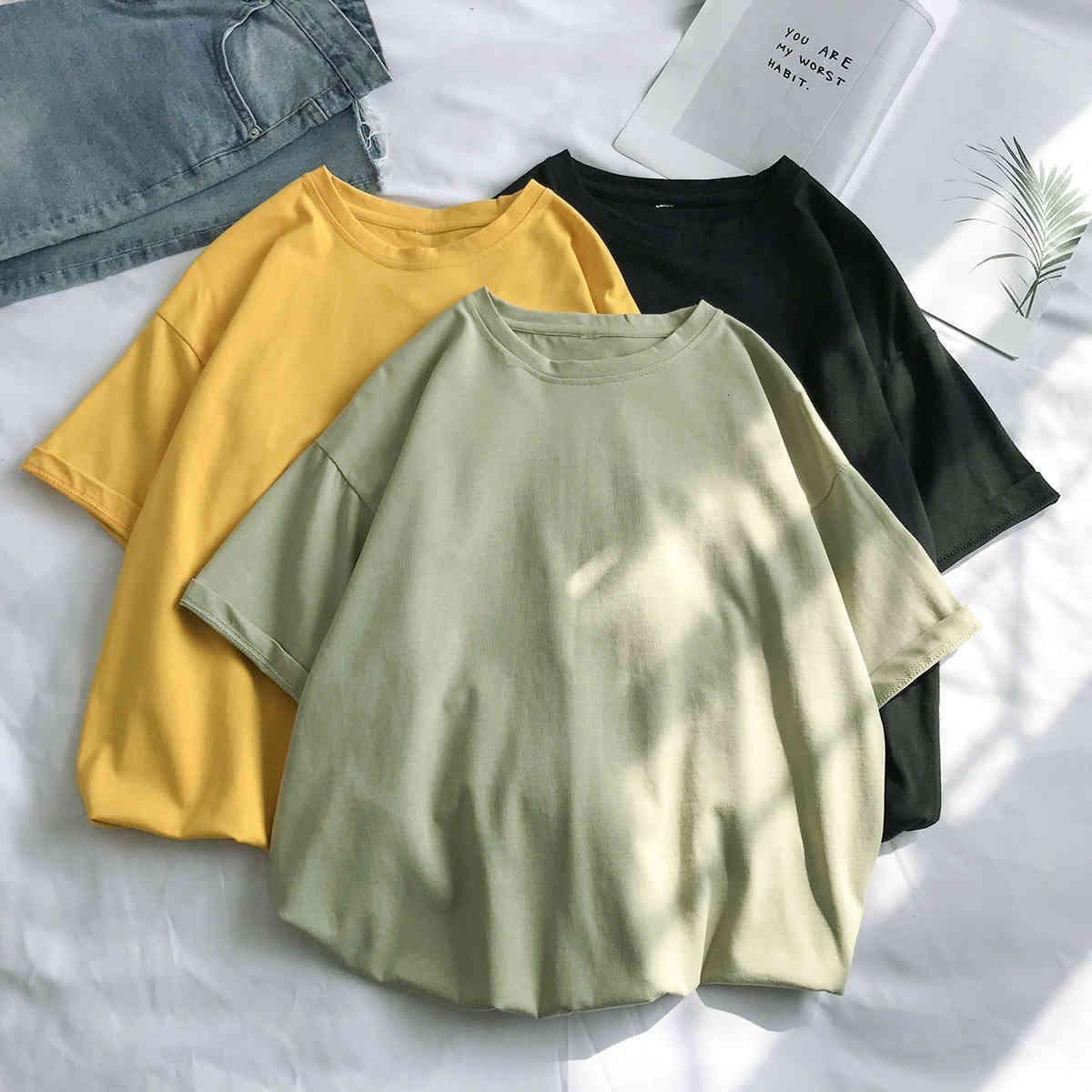T-shirt Summer Casual Coton Loose Coton Solide Color Couleur Né Homme À manches courtes T-shirt AtTorsd Pull Fashion