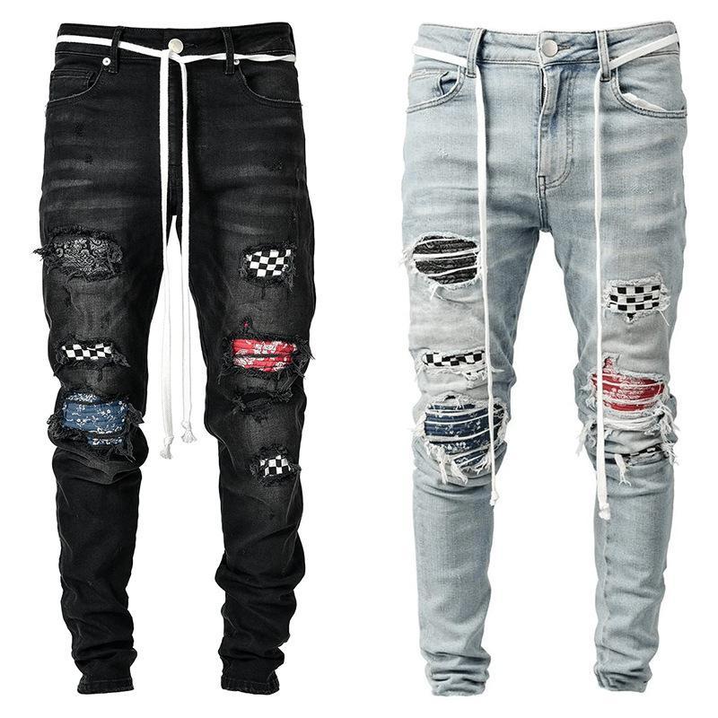 Pantalones vaqueros de pinza negros Remado Patchwork Pantalones de mezclilla Estiramiento Pantalones Elásticos Hip Hop Jogging Lápiz Pantalones 2021 Ropa de Hombres
