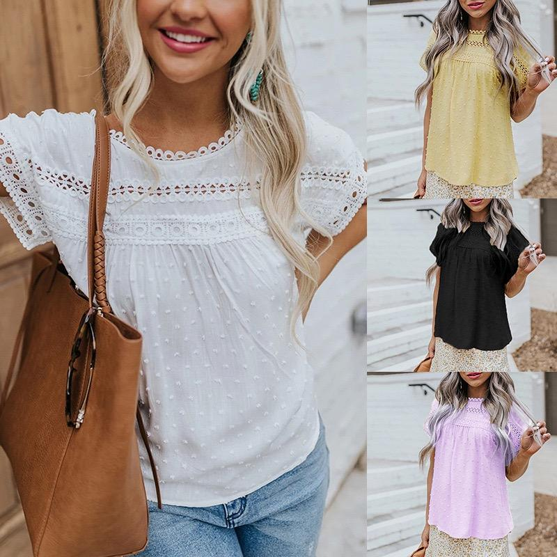 Women Blouses Fashion Sexy Printed Short Sleeve Chiffon Casual Loose Blouse Round Neck Lace Woven Pompom