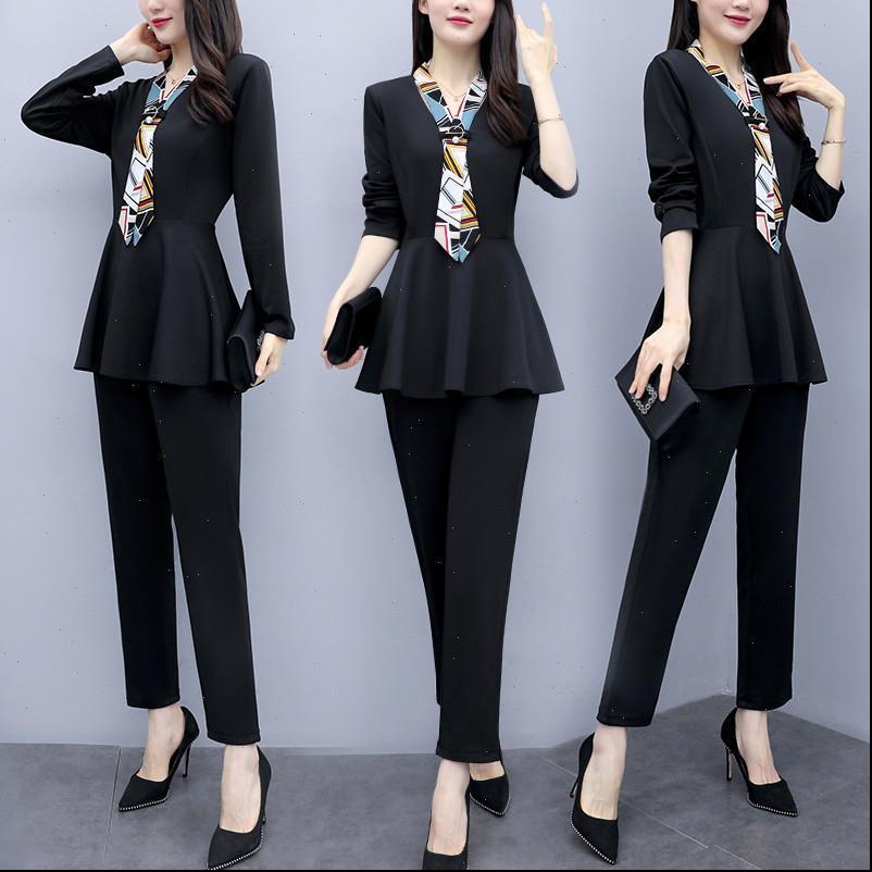 L 5XL Black Herbst Zwei Frauen Trainingsanzüge Stück Sets Outfits Plus Size Langarm Tuniken und Hosenanzüge Elegant