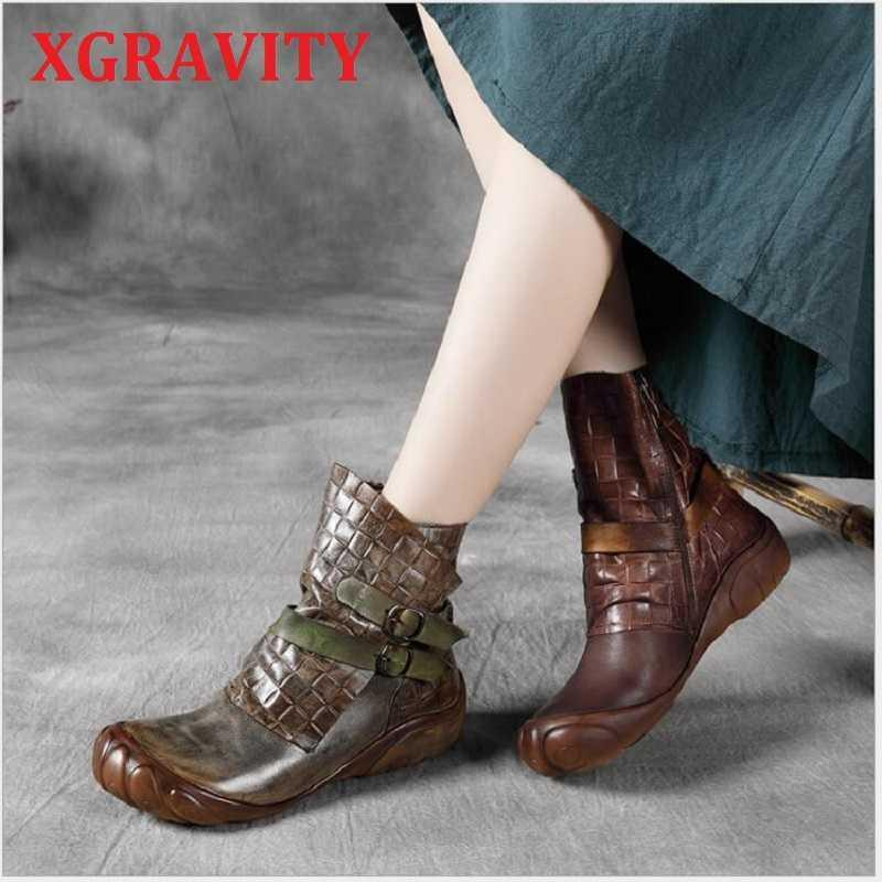 XGRAVITY S080 New Ladies Hand-made Soft Sole Flat Shoes Zip Design Woman Footwear Fashion Ladies Flats Short Boots Ankle Boots 210429