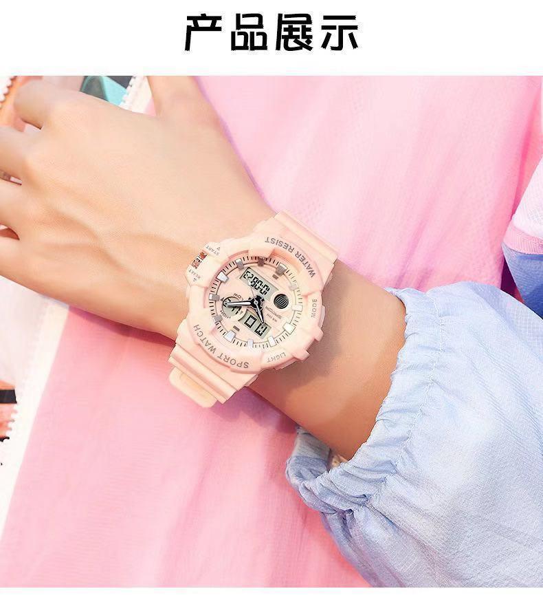 Rosa Harz Armband, wasserdichte elektronische Uhr, Features: Dual-Modus Zeit, Woche, Kalender, Timing, Wecker, Hocked, fallsistent, Nachtgröße: 46 mm