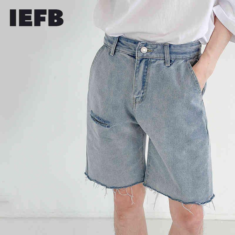 IEFB Holed Denim Shorts Men's Summer Thin Fashion Vintage Streetwear Casual Knee Length Pants Burrs Jeans Shorts 9Y7583 210524