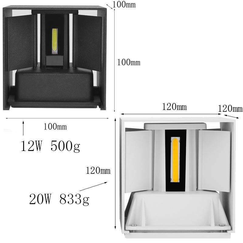 IP65 impermeável 12W 20W Interior exterior lâmpada de parede lâmpada de parede ajustável de alumínio AC85265V LED Sconce Luz
