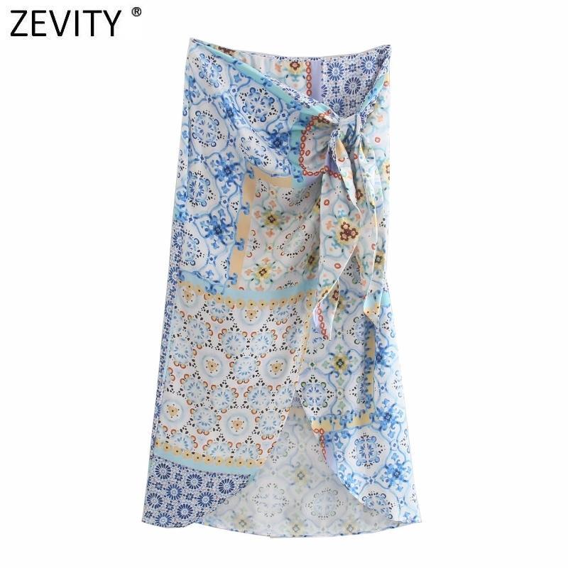 Zevity Donne Vintage Ploth Patchwork Patchwork Floral Stampa annodata Sarong Gonna Faldas Mujer femminile laterale laterale Cerniera chic Slim Vestidos QUN793