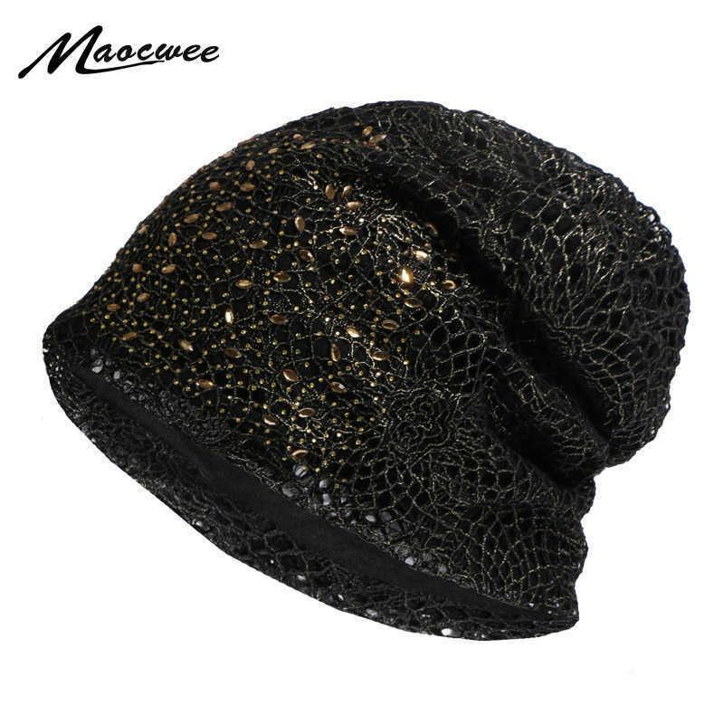 Bling Bling Hip-Hop Pullu Kap İlkbahar Sonbahar Türban Bonnet Kapaklar Kadın Moda Dantel Çiçek Ince Beanies Şapka Bayan Y0911