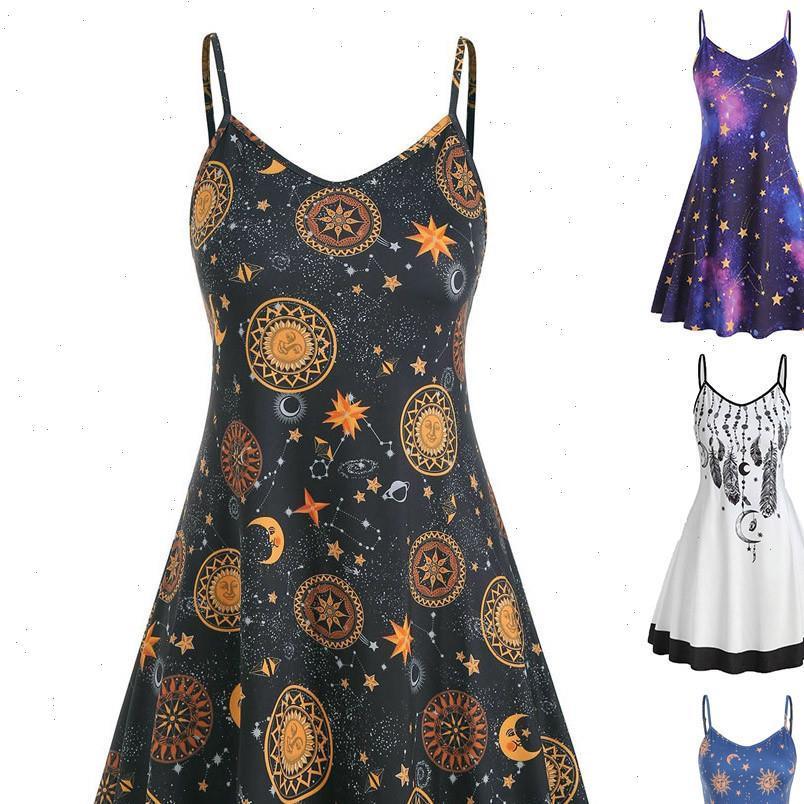 Vintage Mond Frauen Kleid Druck Gothic Sommer Lässige Hosentum Elegante Frauen Sleeveless Vestidos