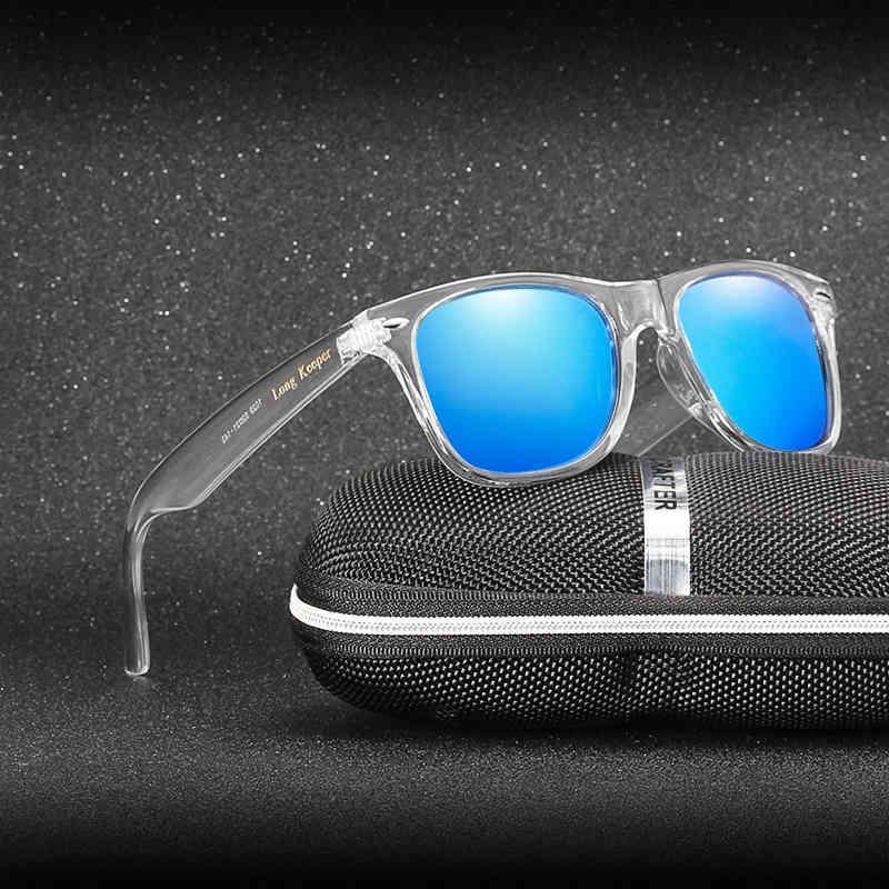 선글라스 미러 반사 선글라스 여성 편광 UV400 남자 야간 투시경 PC 투명한 안경 태양 안경 긴 보관함