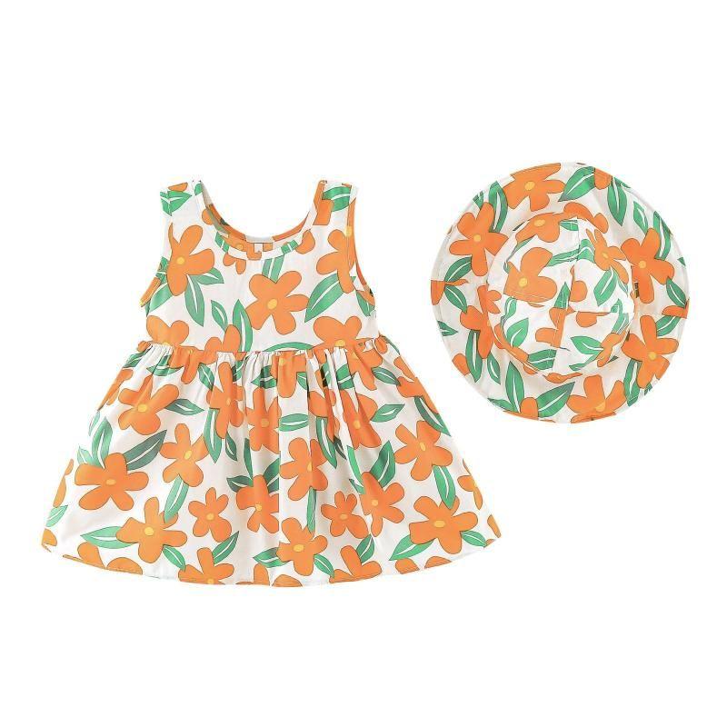 Kızın Elbiseleri Çocuk Bebek Kız Yaz Elbise Sunhat Set Çocuk Giyim Kız Kolsuz Çiçek Prenses Şapka Kıyafetler Vestidos 2021