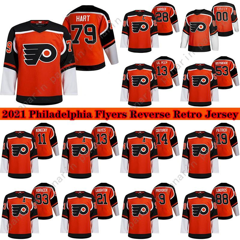 Filadélfia Flyers Jersey 2020-21 Reverse Retro 28 Claude Giroux 79 Carter Hart 53 Gostisbeia 93 Voracek 11 KoneCny Ice Hockey Jerseys