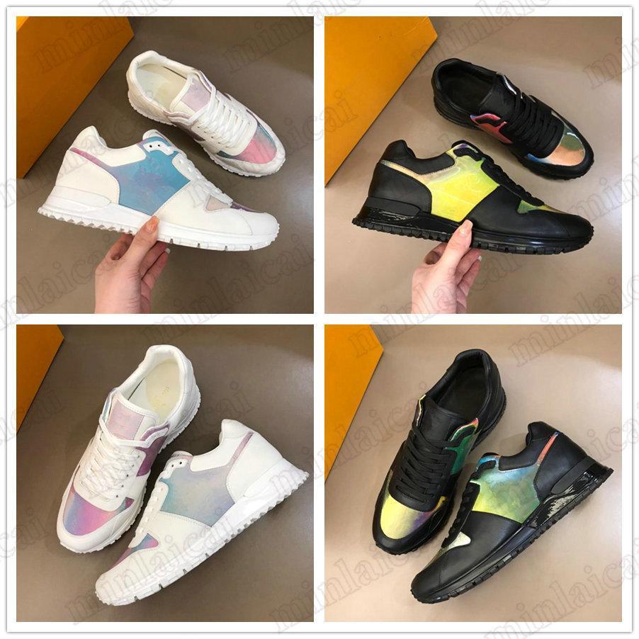 Running Rainbow Monogramme Turnschuhe 2021SS PVC Lederschuhe Italy Luxurys Herren Designer Trainer Runner Weiß Irisierende Schnüraufnahme Womens Casual Shoe