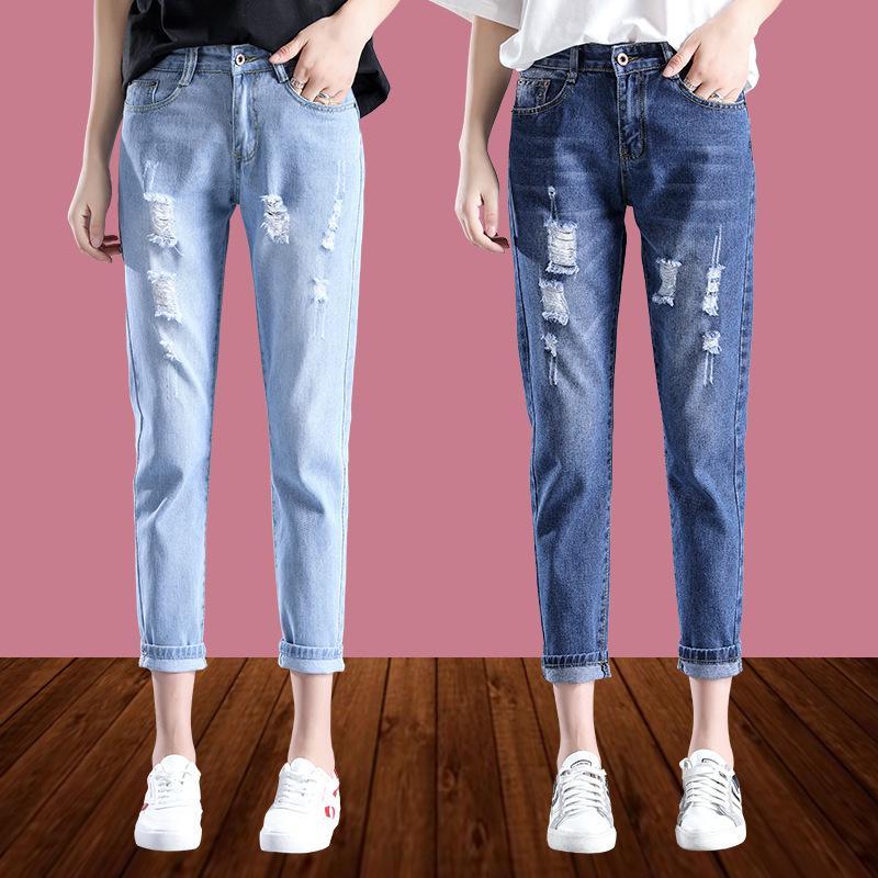 Jeans da donna Arrivalhole Jeans Capris Primavera e autunno Summer Studente Coreano BF Semplice vita alta a vita bassa taglia donna pantaloni da donna