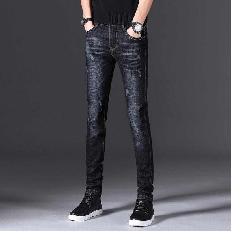 Slim Stretch Youth Jeans Autumn New Men's Moda Coreana