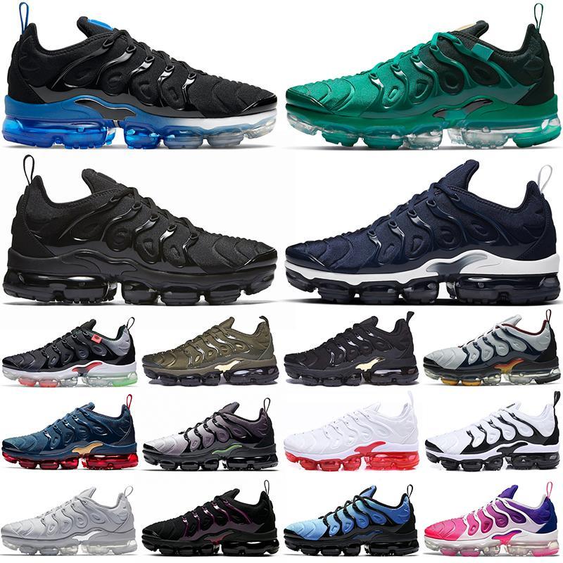 Высокое качество плюс туфли TN мужские кроссовки Black Royal Atlanta Pure Platinum Все красные темно-синие оливковые мужчины женщин тренеров на открытом воздухе спортивные кроссовки 36-47