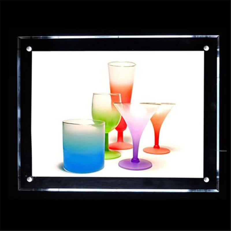60 * 80cm Retail Store Poster Werbung Display-Panel mit Acryl-Board-LED 2835 Side-Beleuchtung starker Holzkastenverpackung